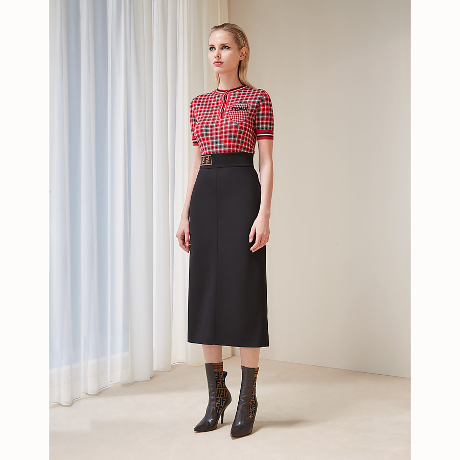 FENDI SKIRT - Black wool skirt - view 4 detail