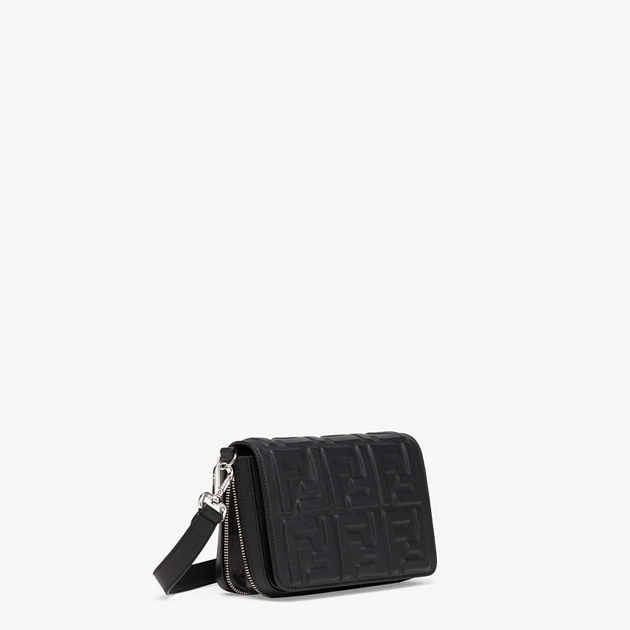 FENDI FLAP BAG - Black nappa leather bag - view 3 detail