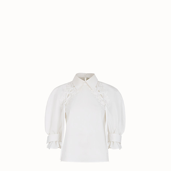 FENDI SHIRT - White cotton taffeta blouse - view 1 small thumbnail