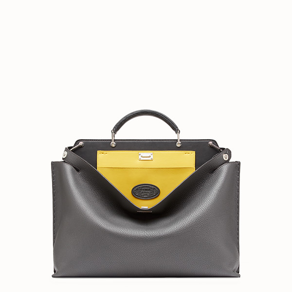 FENDI PEEKABOO ICONIC ESSENTIAL - 灰色皮革手袋 - view 1 小型縮圖