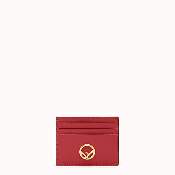 FENDI CARD HOLDER - Red leather flat card holder - view 1 small thumbnail
