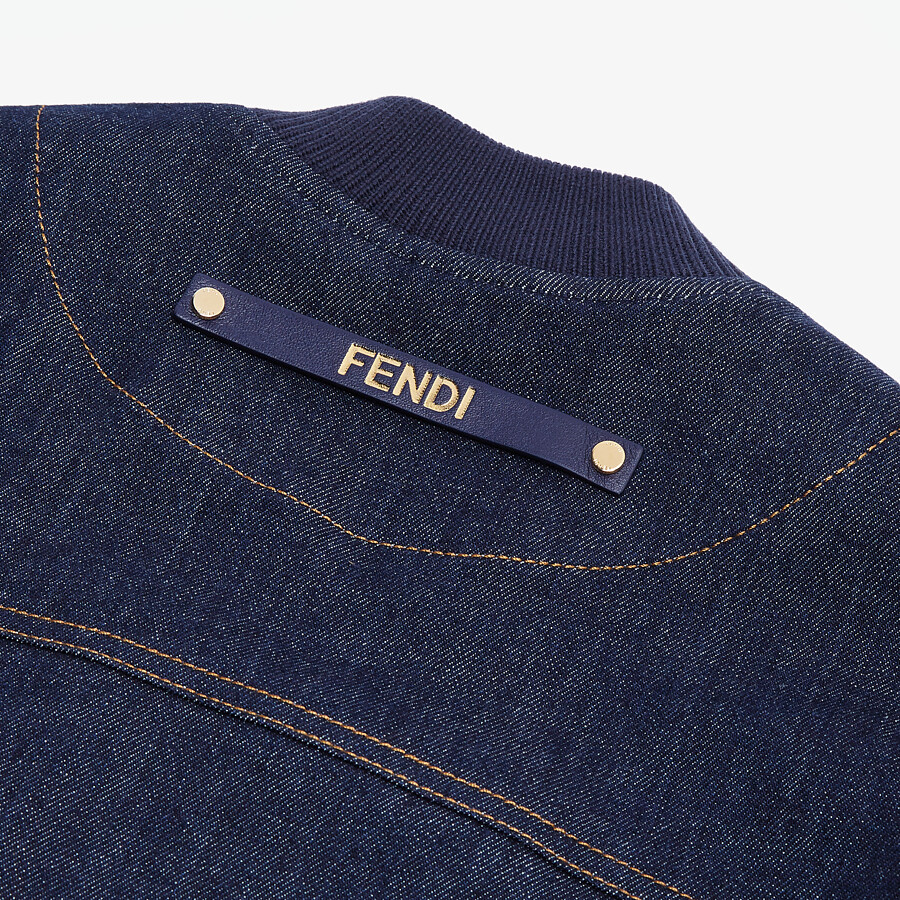 FENDI JACKET - Blue denim bomber jacket - view 4 detail