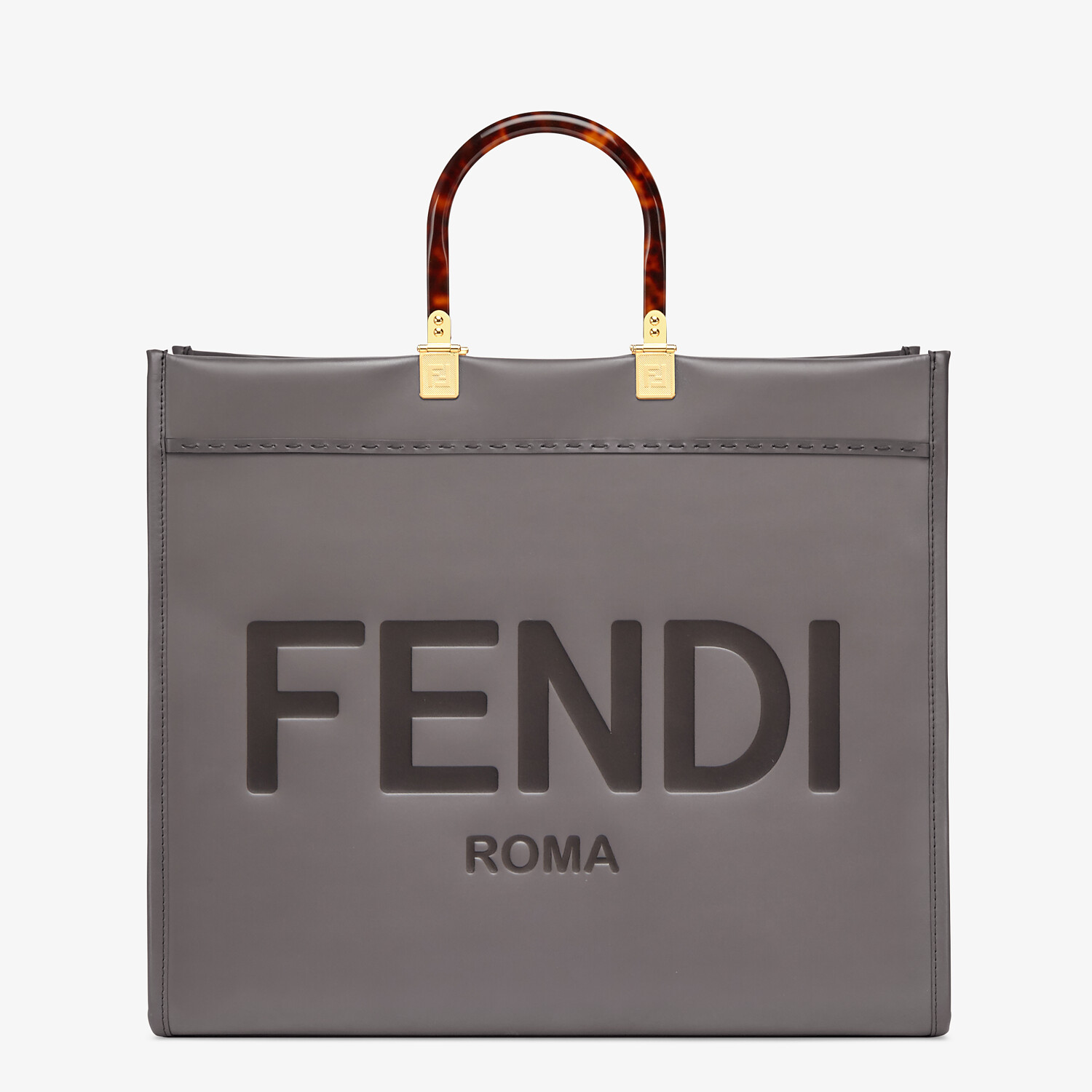 FENDI SUNSHINE SHOPPER - Gray leather shopper - view 1 detail