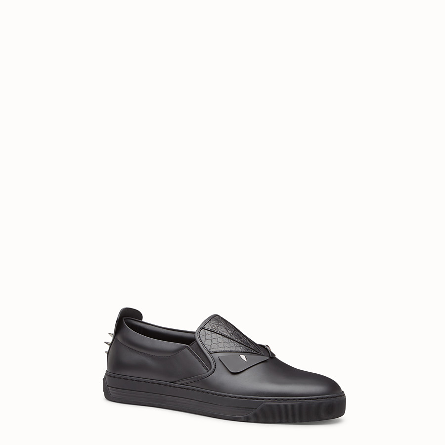 FENDI SNEAKER - Elaphe and black leather sneakers - view 2 detail