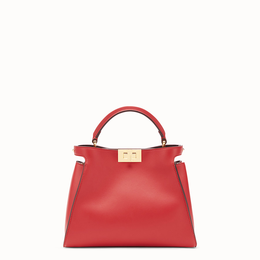 FENDI PEEKABOO ESSENTIALLY - Red leather bag - view 1 detail