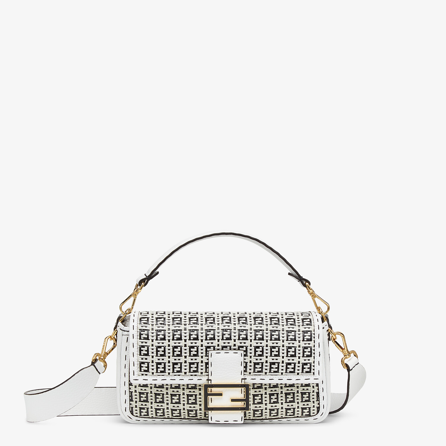 FENDI BAGUETTE - Black and white braided leather bag - view 1 detail