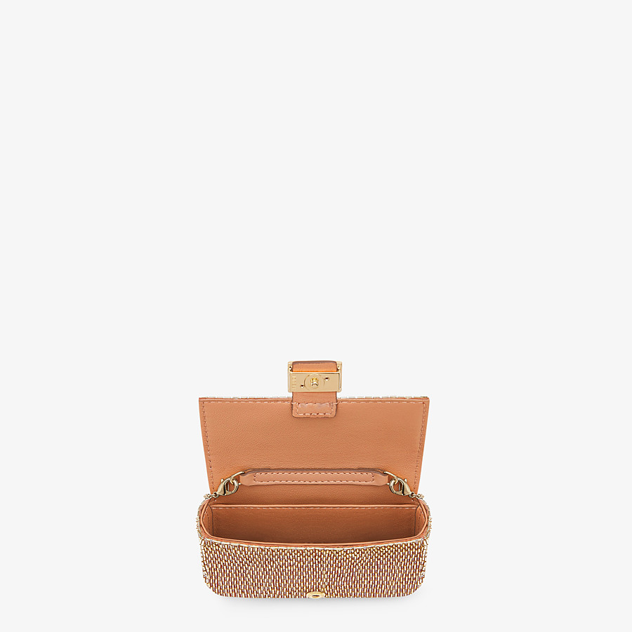 FENDI NANO BAGUETTE - Brown leather charm - view 4 detail