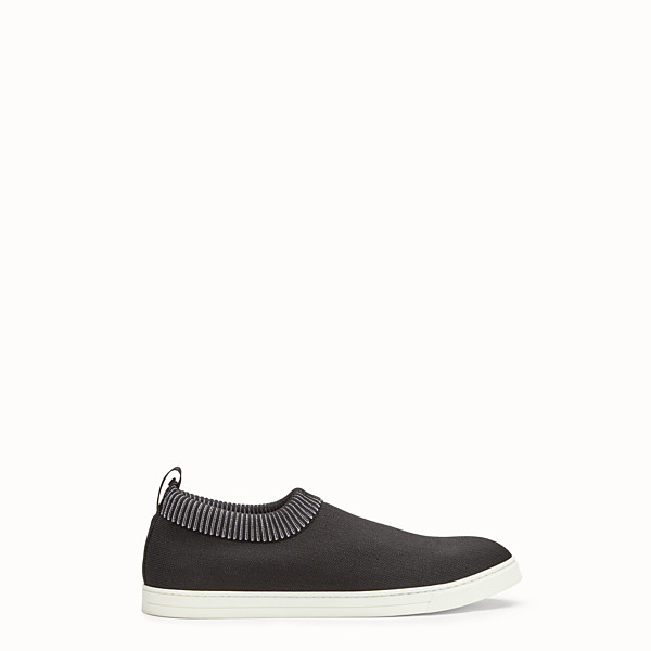 FENDI SNEAKERS - Black technical knit fabric slip-ons - view 1 small thumbnail