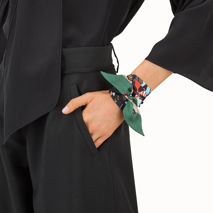 FENDI FENDI WONDERS WRAPPY - Bandeau in black and multicolour silk - view 3 detail