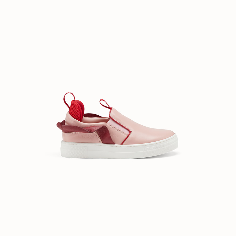 FENDI SLIP-ONS - Pink leather slip-ons - view 1 detail
