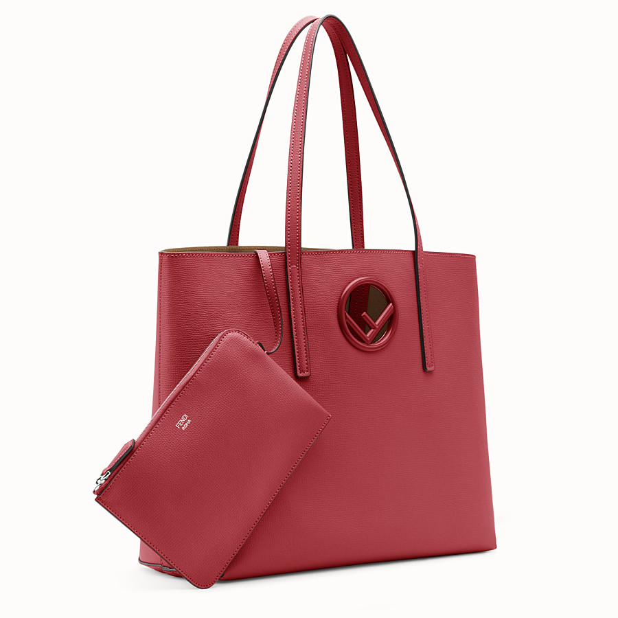 FENDI SHOPPER - Red leather shopper bag - view 2 detail