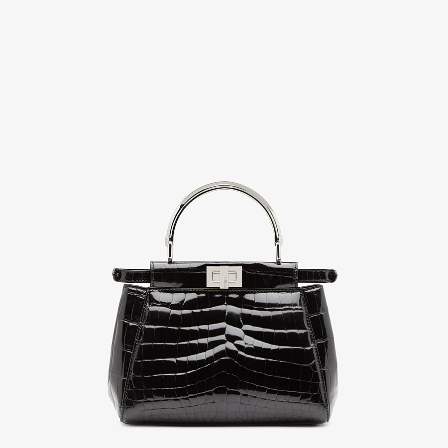 FENDI PEEKABOO ICONIC MINI - Black crocodile bag - view 3 detail