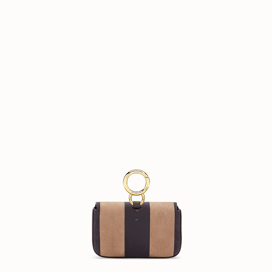 FENDI NANO BAGUETTE - Charm in brown nubuck leather - view 4 detail