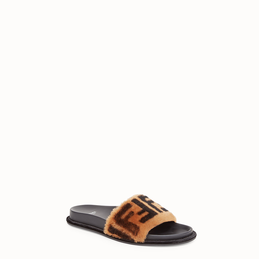 FENDI SANDALS - Brown leather and sheepskin slides - view 2 detail