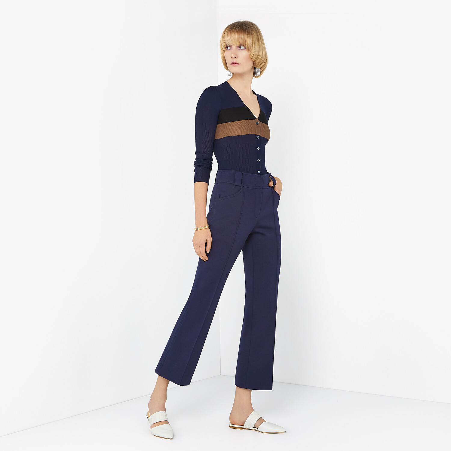 FENDI TROUSERS - Blue wool trousers - view 4 detail
