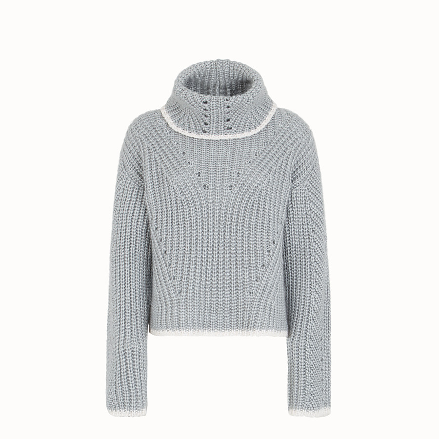 FENDI JUMPER - Grey cashmere sweater - view 1 detail
