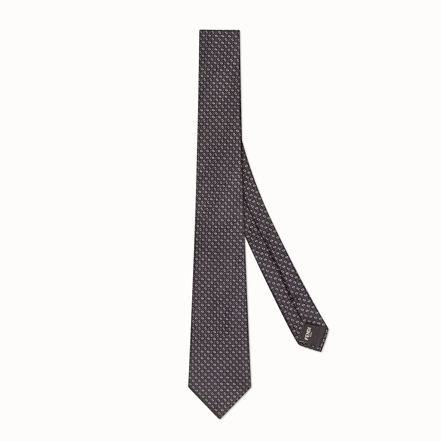 FENDI TIE - Grey silk necktie - view 1 detail