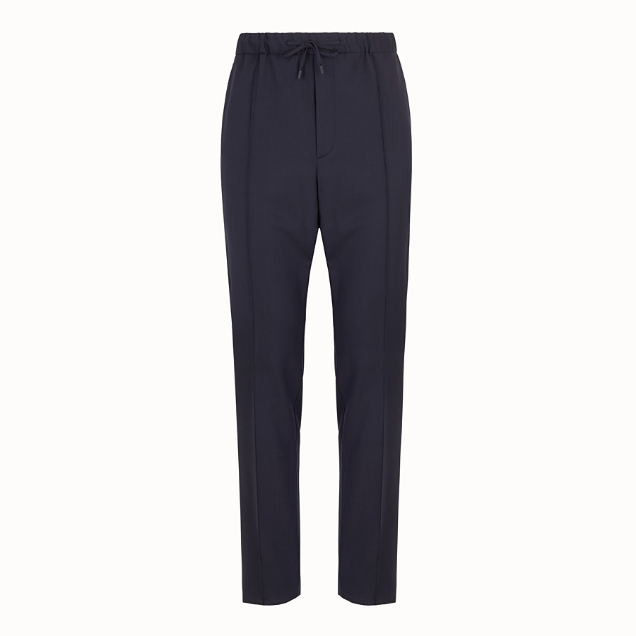 FENDI TROUSERS - Blue wool trousers - view 1 detail