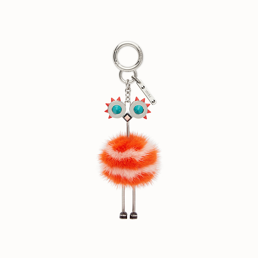FENDI CHICK BAG CHARM - Charm in pink and orange fur - view 2 detail