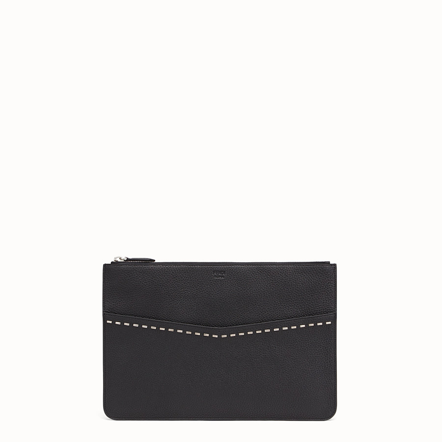 FENDI POUCH - Black leather Selleria pouch - view 1 detail