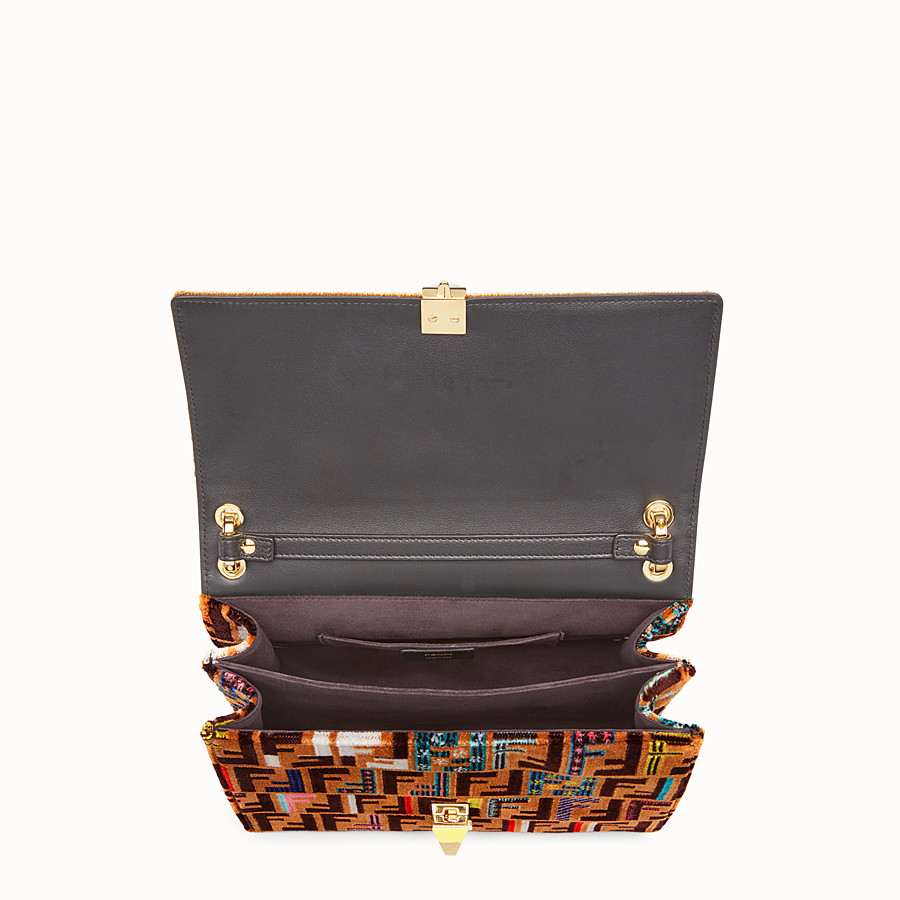 FENDI KAN I - Brown leather and silk bag - view 4 detail