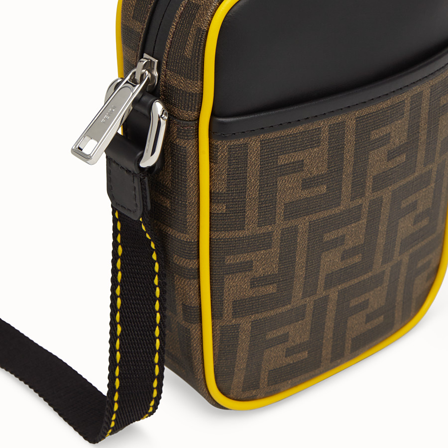 FENDI SMALL MESSENGER - PU and black leather cross-body bag - view 5 detail