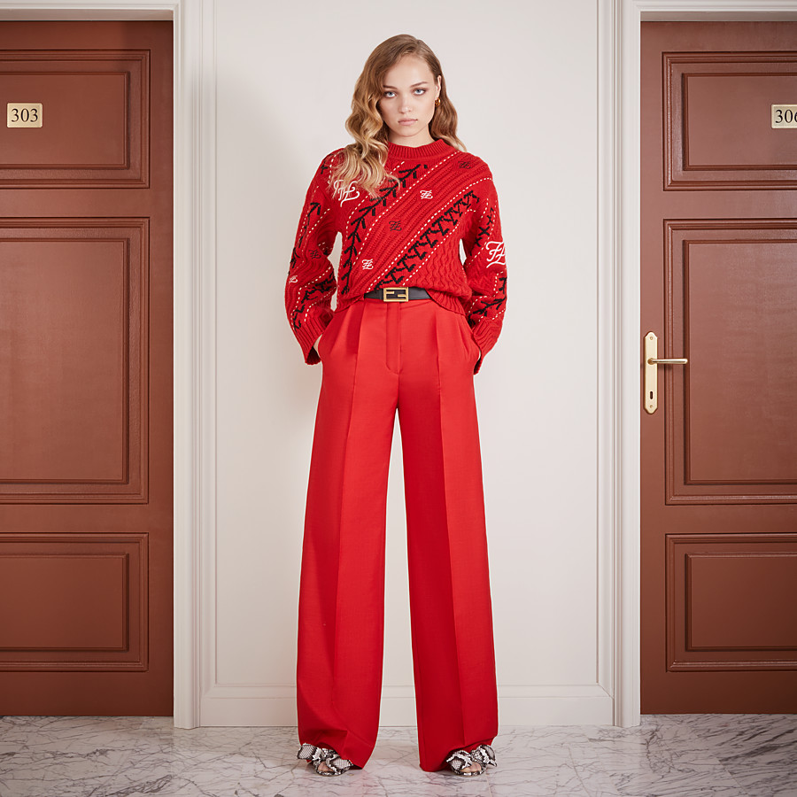FENDI TROUSERS - Red kid mohair trousers - view 4 detail
