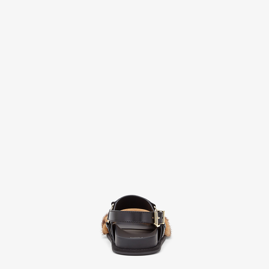 FENDI SANDALS - Black leather slingbacks - view 3 detail
