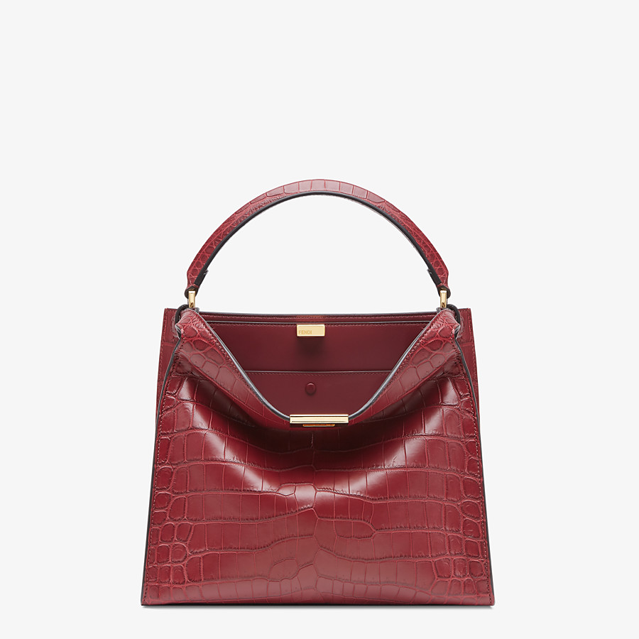 FENDI PEEKABOO X-LITE MEDIUM - Burgundy crocodile leather bag - view 2 detail
