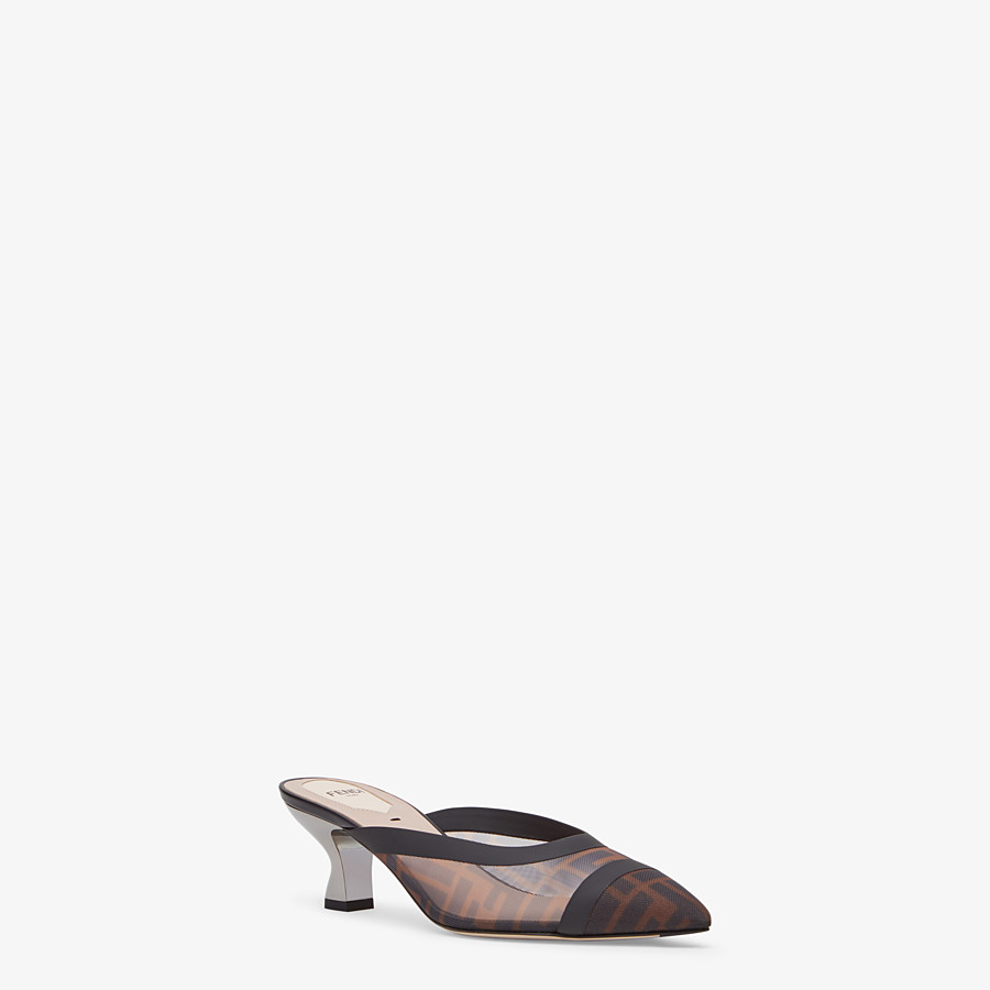 FENDI SLINGBACKS - Brown mesh and black leather colibrì - view 2 detail