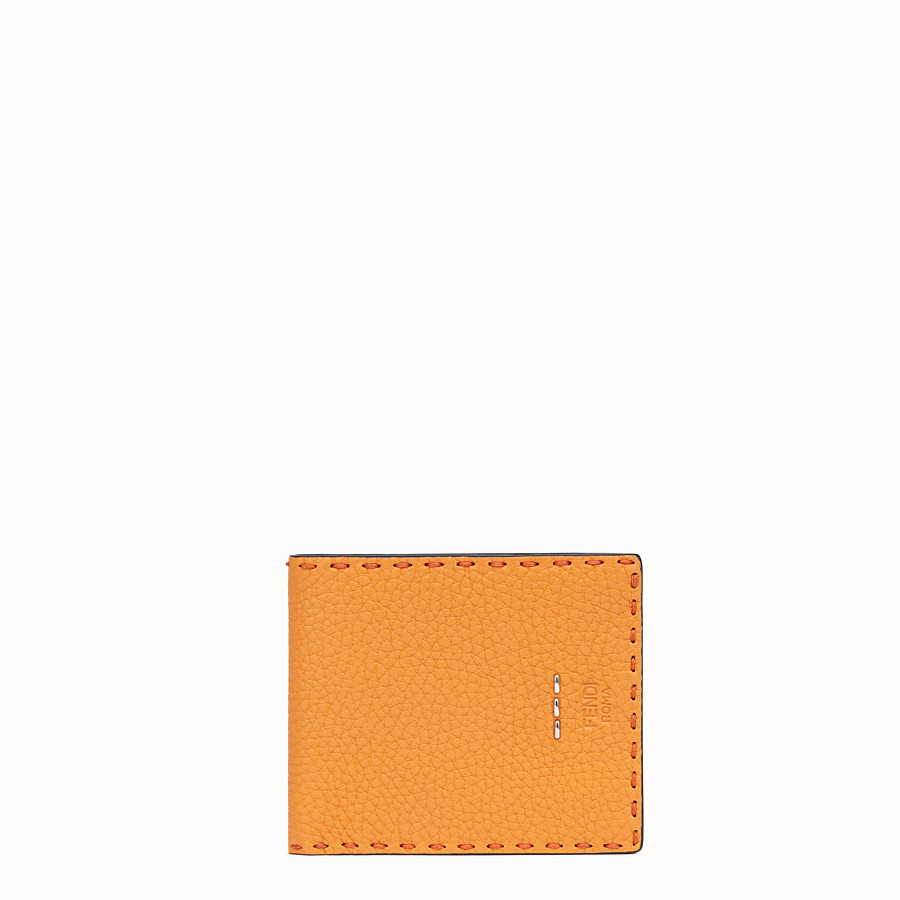 FENDI WALLET - Orange leather bi-fold wallet - view 1 detail