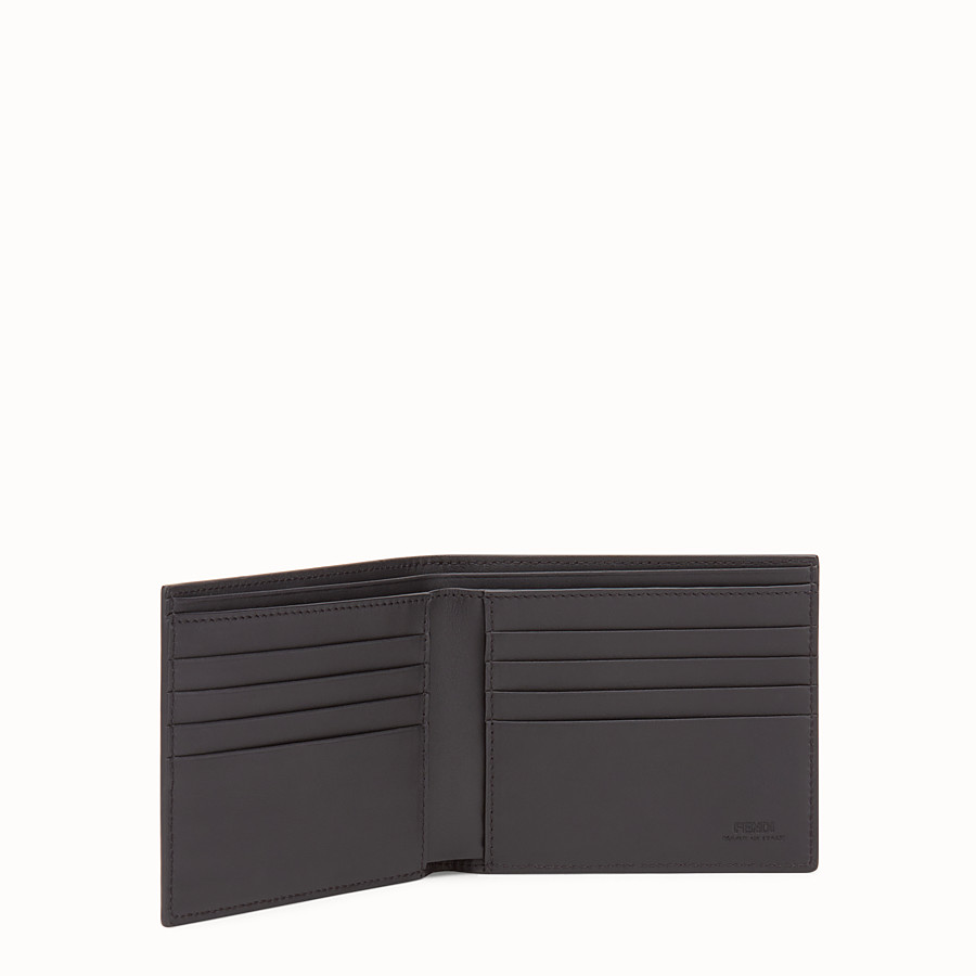 FENDI WALLET - Black leather bi-fold with inlay - view 3 detail