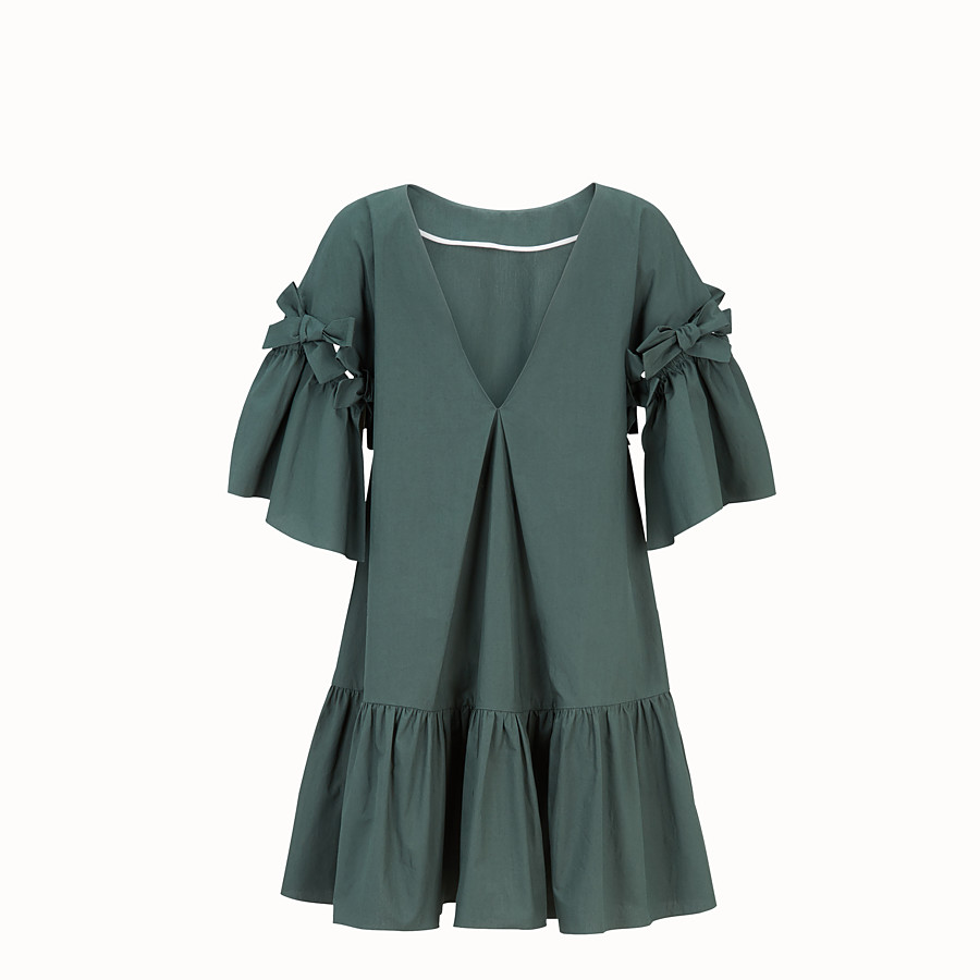 FENDI DRESS - Green cotton dress - view 2 detail