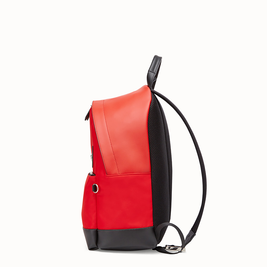FENDI BACKPACK - Red fabric and leather backpack - view 2 detail