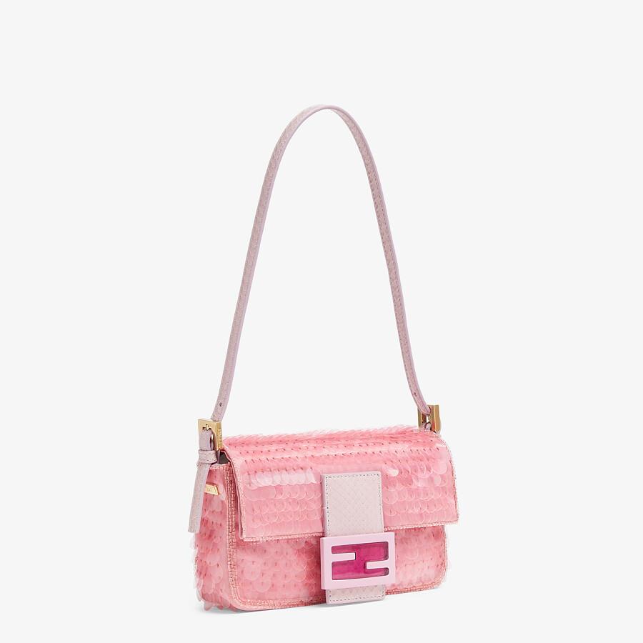 FENDI MINI BAGUETTE 1997 - Pink satin bag with sequins - view 3 detail