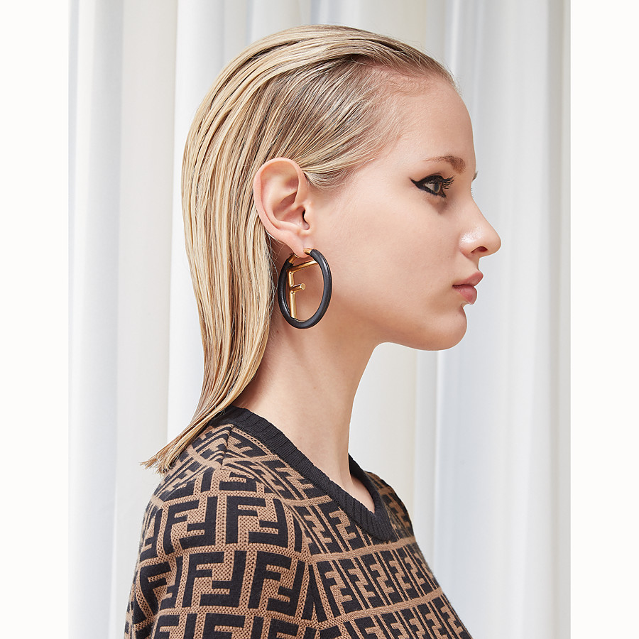 FENDI F IS FENDI EARRINGS - Black leather earrings - view 2 detail