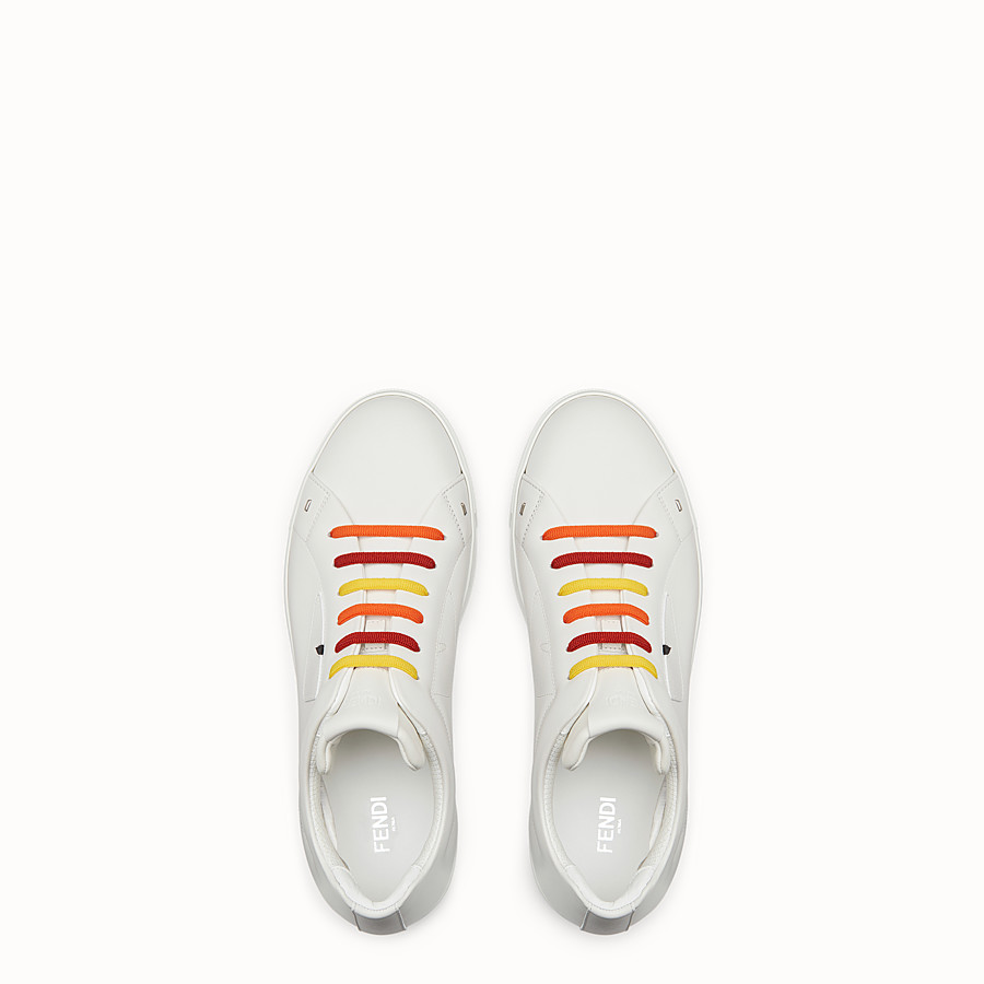 FENDI SNEAKER - White lace-ups with multicolour laces - view 4 detail