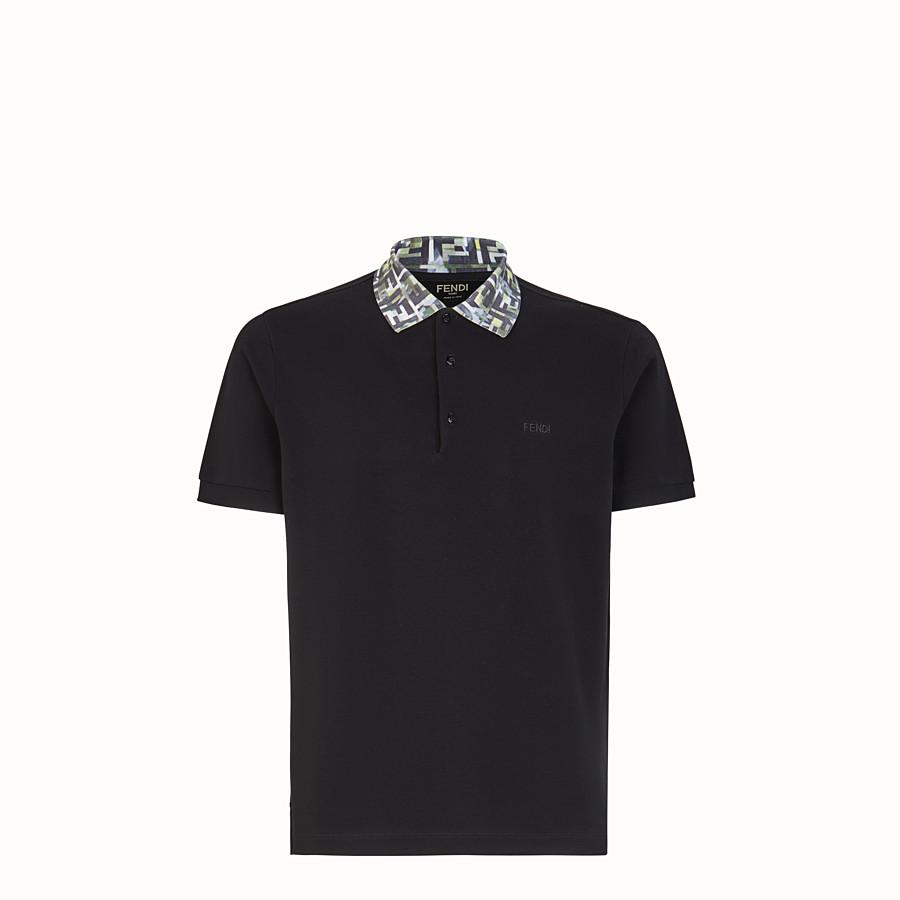 FENDI T-SHIRT - Polo in cotone nero - vista 1 dettaglio
