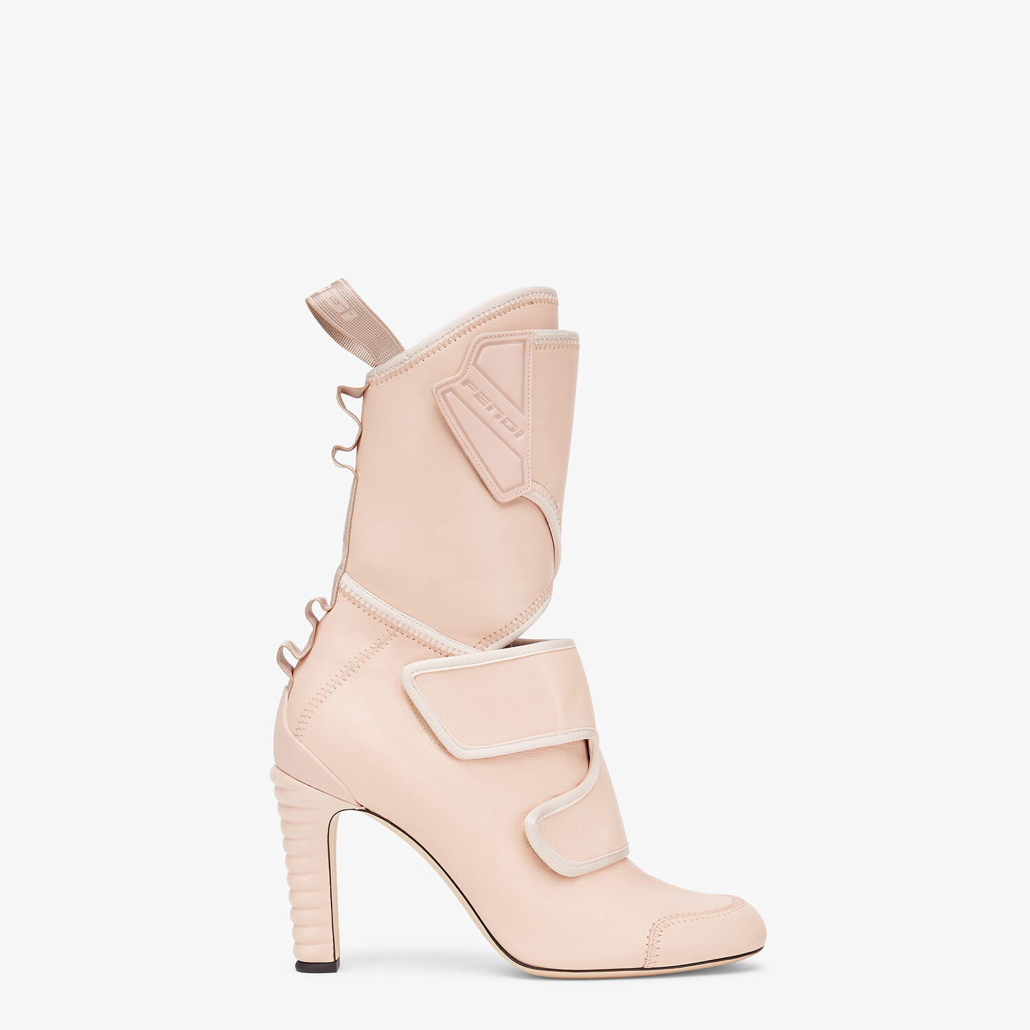 FENDI ANKLE BOOTS - Pink leather Promenade Booties - view 1 detail