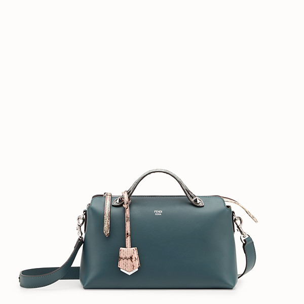 FENDI BY THE WAY REGULAR - Green leather Boston bag with exotic details - view 1 small thumbnail