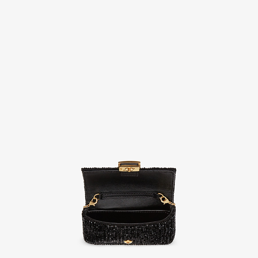 FENDI NANO BAGUETTE CHARM - Charm with black crystals - view 4 detail