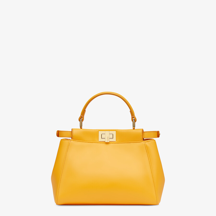 FENDI PEEKABOO ICONIC MINI - Orange nappa leather bag - view 4 detail