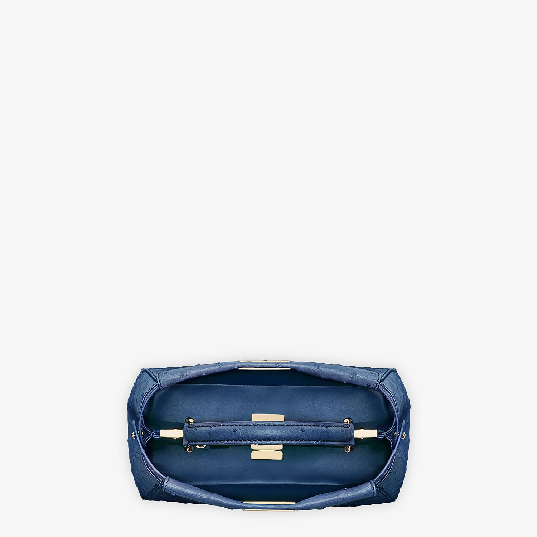 FENDI PEEKABOO ICONIC MINI - Blue ostrich leather bag - view 4 detail
