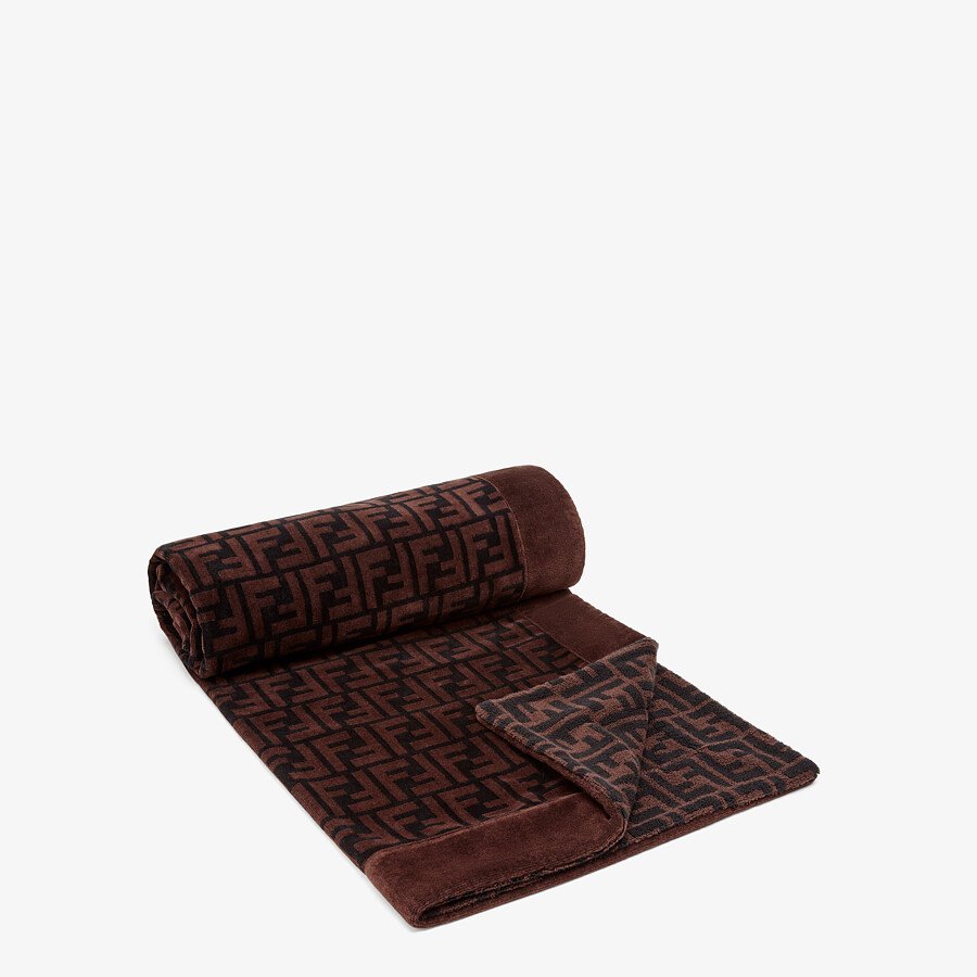 FENDI BEACH TOWEL - Brown cotton beach towel - view 2 detail