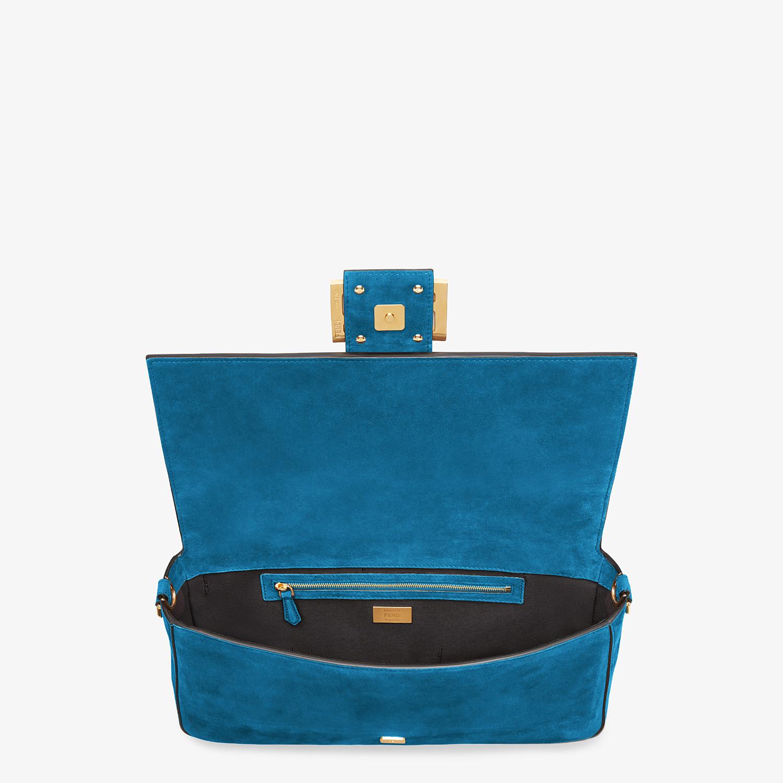 FENDI BAGUETTE LARGE - Light blue suede bag - view 5 detail