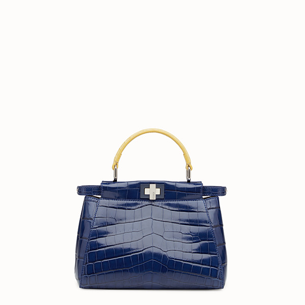 FENDI PEEKABOO MINI - Blue crocodile leather handbag. - view 1 small thumbnail