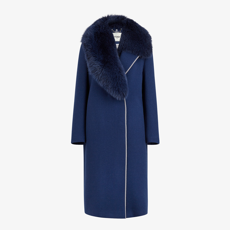 FENDI SOPRABITO - Cappotto in lana blu - vista 1 dettaglio
