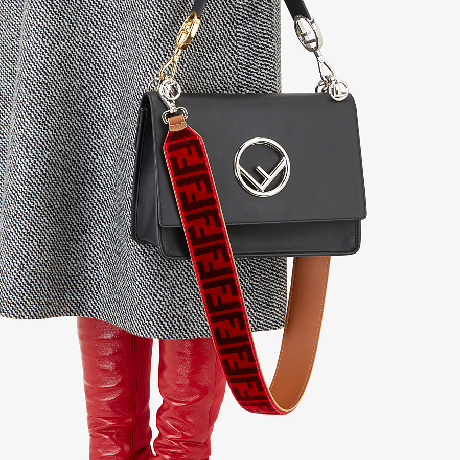 FENDI STRAP YOU - Textured-effect leather shoulder strap - view 2 detail