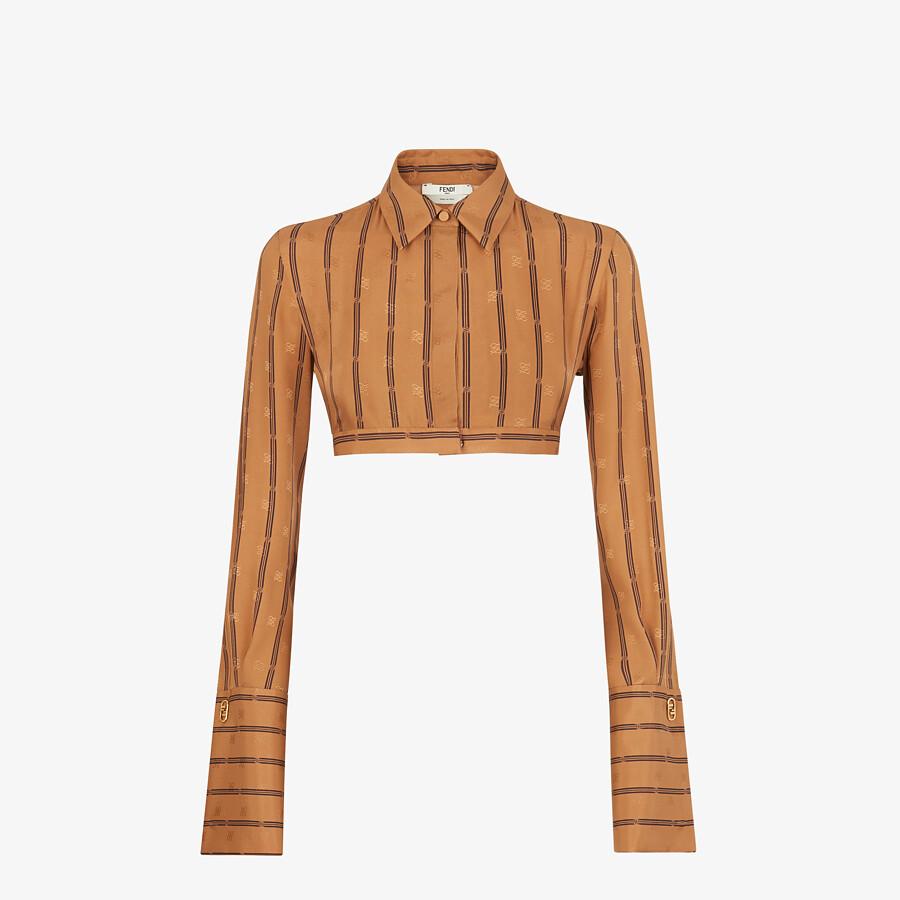 FENDI SHIRT - Brown crêpe satin shirt - view 1 detail