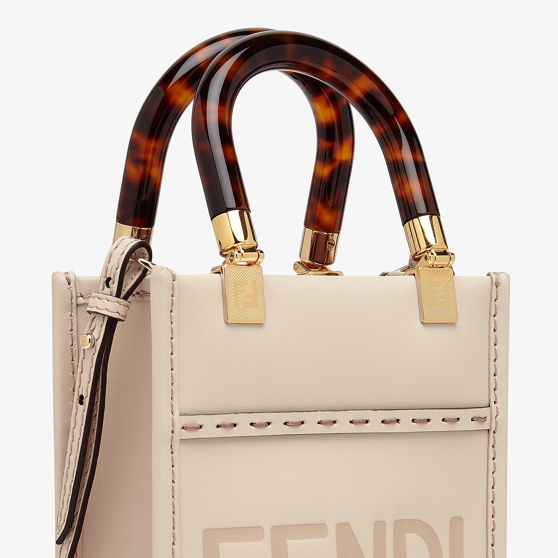 FENDI MINI SUNSHINE SHOPPER - Pink leather mini-bag - view 5 detail